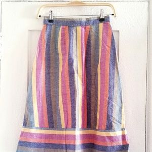 790ffde92 Madewell Skirts | Rainbow Striped Linen Midi Skirt | Poshmark